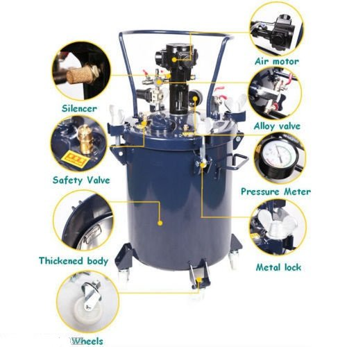 8GAL 30L pnumatic regulador de presión Feed tanque de mezclador de pintura pulverizador Aire Pintura Mezclador Agitador de...