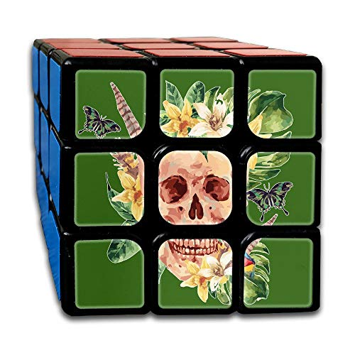 Uman Skull with Boho Flowers 3x3 Smooth Speed Magic Rubiks Cube Magic Speed Cube Puzzles Toys