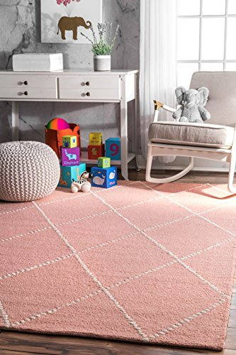 nuLOOM Hand Tufted Wool Dotted Diamond Trellis Area Rugs, 4' x 6', Baby Pink