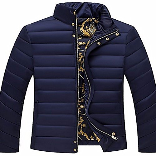 ZHUDJ Men's Regular Padded Coat,Simple Going Out Casual/Daily Solid-Cotton polypropylene Long Sleeves Navy blue
