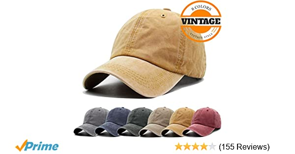 Unisex Vintage Washed Distressed Baseball-Cap Twill Adjustable Dad-Hat  (A-yellow) at Amazon Men s Clothing store  20cded2c508