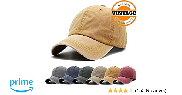 Unisex Vintage Washed Distressed Baseball-Cap Twill Adjustable Dad-Hat  (A-yellow) at Amazon Men s Clothing store  a4e1e14e075