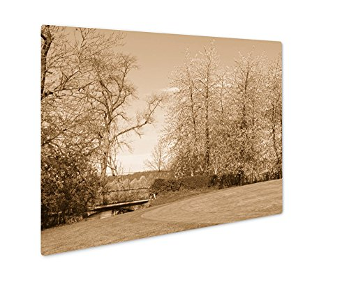 Ashley Giclee Golf Course Saint Saens France, Wall Art Photo Print On Metal Panel, Sepia, 8x10, Floating Frame, AG5583982