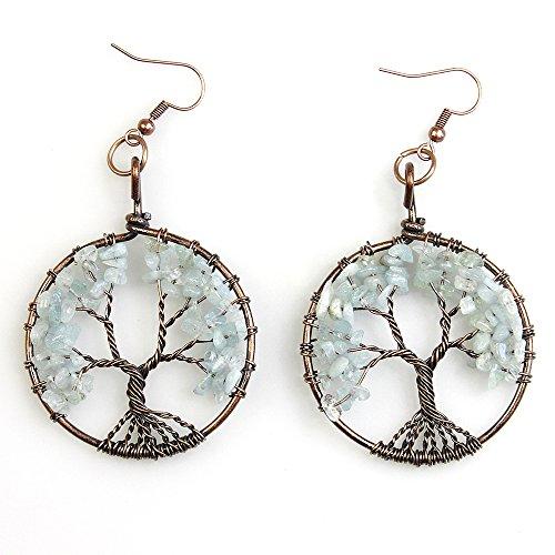 BAYUEBA Dangle Earrings Tree of Life Amethyst Rose Crystal Chakra Gemstone Jewelry Aquamarine Aquamarine Gemstone Jewelry