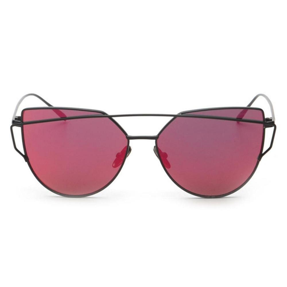 Doinshop Twin-Beams Classic Women Sunglasses Metal Frame Mirror Cat Eye Glasses (Rose Gold)