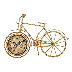 Clock Bicycle Table Clock - Metal Wood Grandfather Vintage Clock, Silent Wrought Iron Decoration 35.5 26Cm