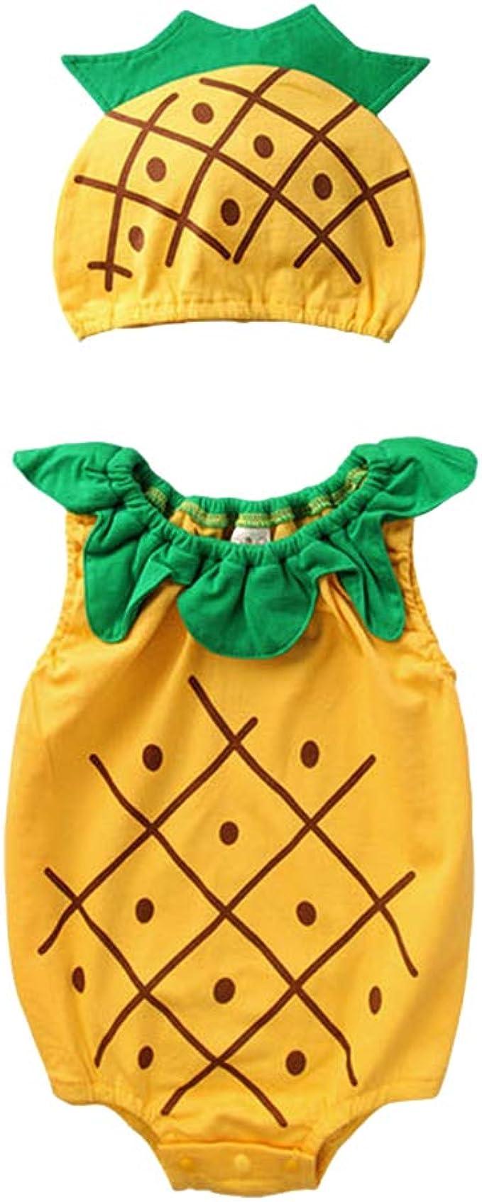 Mono Infantil para bebé Sin Mangas Fruta Piña Monos Mameluco con ...