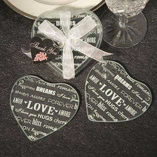 (Heart Design Glass Coaster Favors (set of 2), 60 )