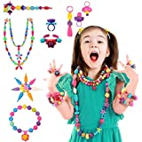 500+ Snap Pop Beads Girl Toy Arts Crafts Toys Birthday Gifts Reusable Jewelry Making Kit Necklace Bracelet Ring Kids Creativity Fashion Fun DIY Set