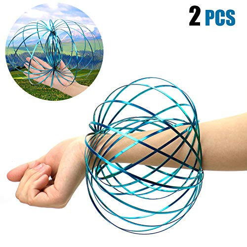 AQUEENLY Kinetic Ring, Multi-Sensory 3D Kinetic Flow Ring to Stress Relief for Kids, Teens, Adults - Educational Slinky Spring Interactive Toy (2 Pcs, Random Color) ()