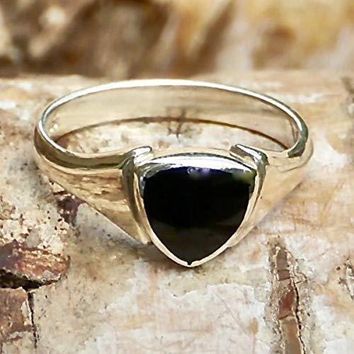 Whitby Jet Silver Ring Trillion Design