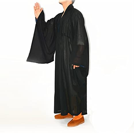 Shaolin Monk Kung fu Buddhist Robe Meditation Long Gown Suit BLACK XL