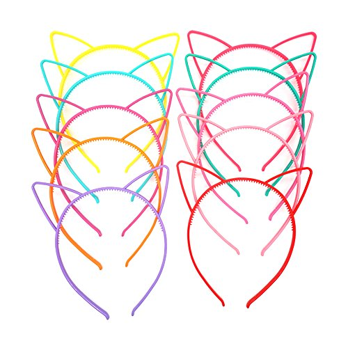 GTONEE Plastic Cat Ears Headbands Candy Color for Kids and Adult Kitty Ears 10pcs]()
