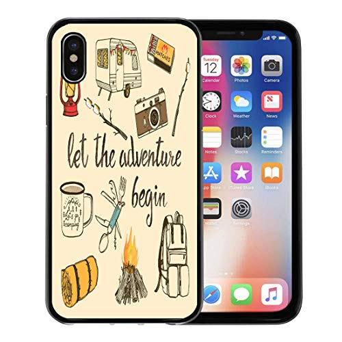 - Emvency Phone Case for Apple iPhone Xs Case/iPhone X Case,Camping Watercolor Camp Bonfire Vintage Lantern Camera Roasted Marshmallow Soft Rubber Border Decorative, Black