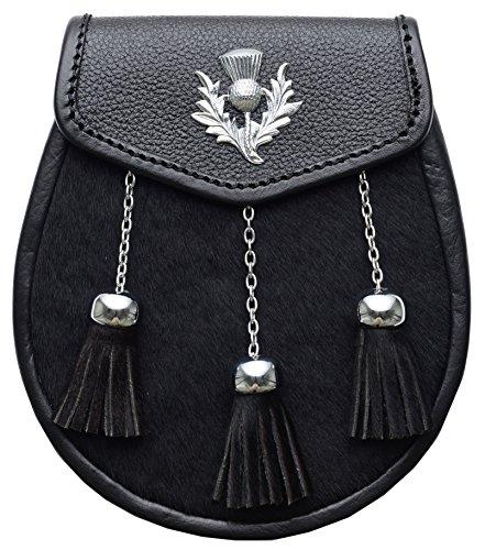 (Black Scottish Highland Thistle Leather Sporran With 3 Tassels)