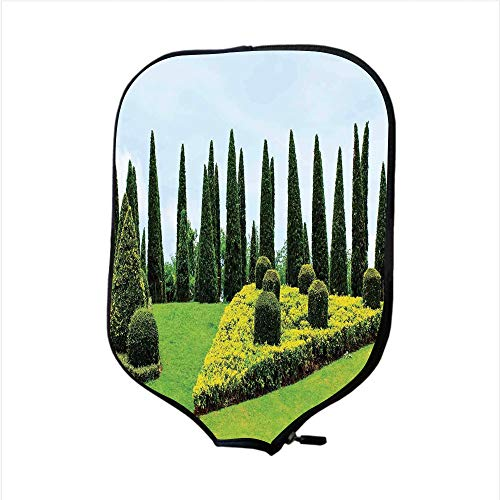 - iPrint Neoprene Pickleball Paddle Racket Cover Case,Country Home Decor,Classic Formal Designed Garden with Evergreen Shrubs Boxwood Topiaries,Fit for Most Rackets - Protect Your Paddle