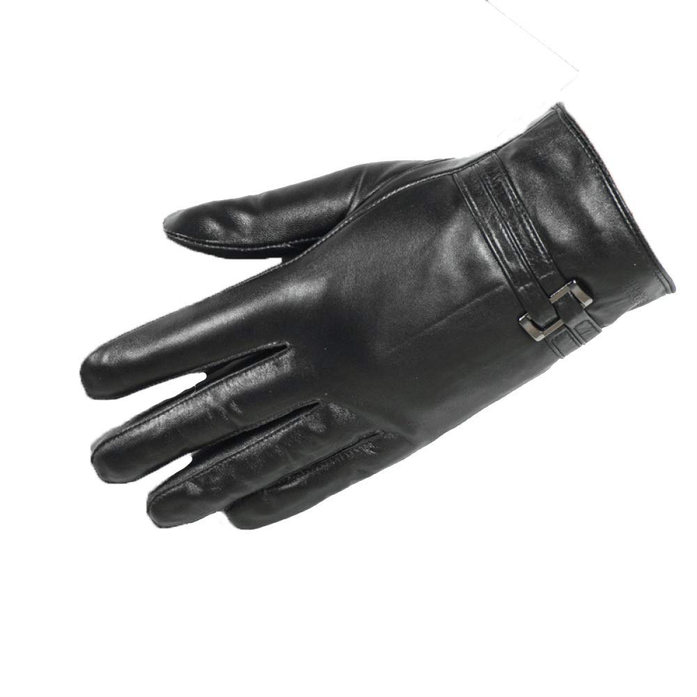 Qzp Winter-Lederhandschuhe Für Männer Mit Winddichtem Touchscreen Sowie Samtfeste Motorradhandschuhe Aus Schaffell,schwarz(E)-XXL