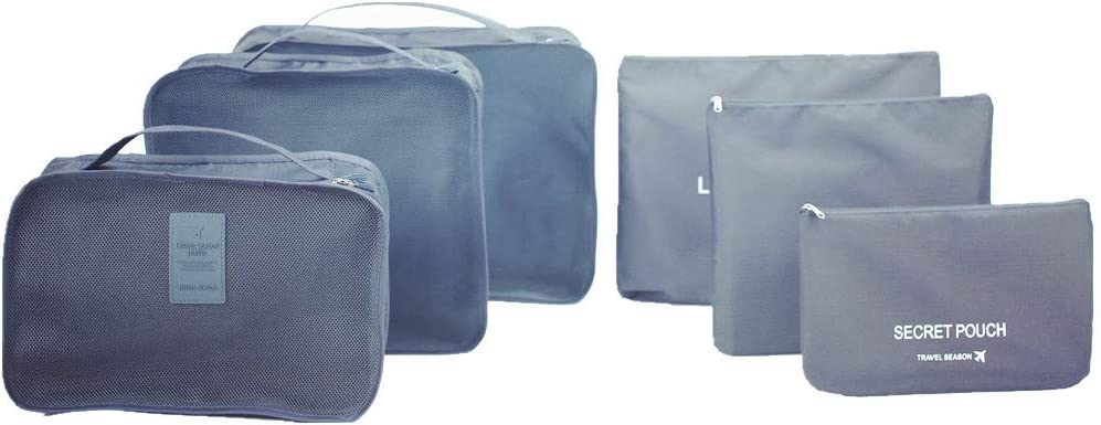 6 sets travel Organizers Packing Cubes Luggage Organizers Compression Pouches Light blue