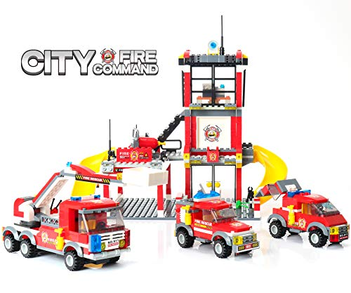 Police Fire Truck - WishaLife 788 Pieces City Police, City Fire Station Building Kit, Toy Fire Truck Firefighter Toys for Kids with Storage Box for Boys and Girls