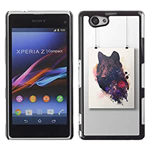 Paccase / SLIM PC / Aliminium Casa Carcasa Funda Case Cover - Wolf Painting Art Drawing - Sony Xperia Z1 Compact D5503