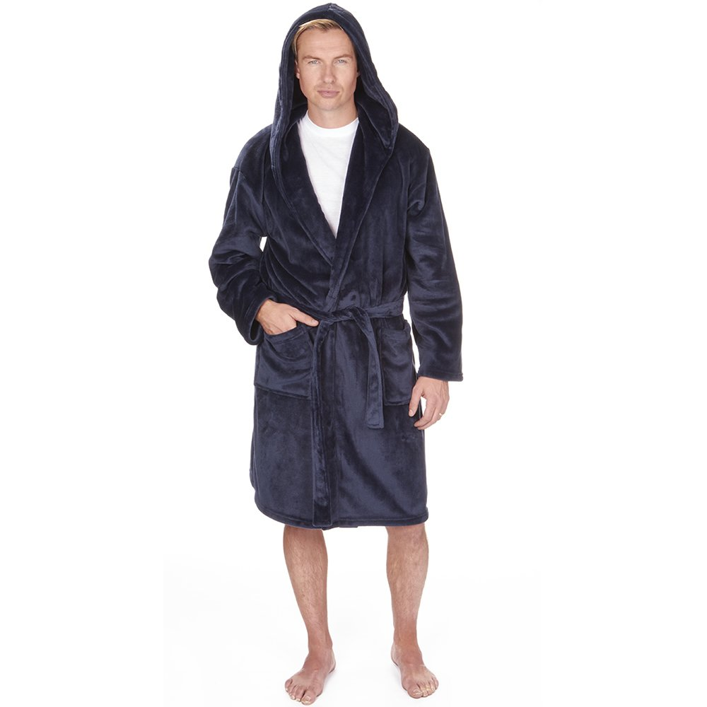 Mens Dressing Gown Hooded Luxurious Towelling Bathrobe - Super Soft Fleece Shawl - Perfect for Loungewear, Spa, Gym, Hotel & Holiday