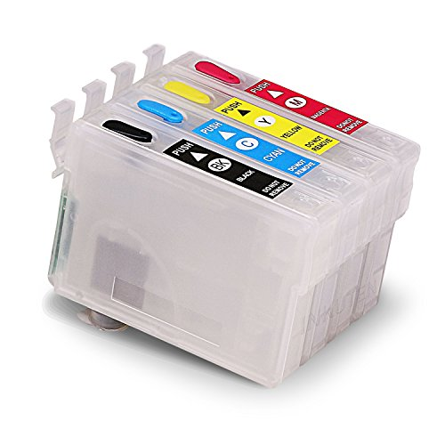 INKUTEN Refillable Cartridges Empty for 252 WorkForce WF-3620, WF-3640, WF-7110, WF-7610 WF-7620, WF-7710, WF-7720 with auto-reset chips + syringes