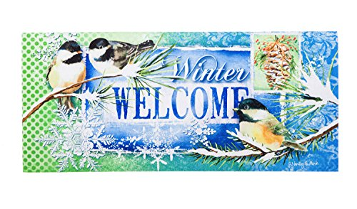 Evergreen Winter Welcome Decorative Mat Insert, 10 x 22 inches by Evergreen Flag