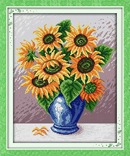 Stamped Cross Stitch Kits Pre-Printed Cross-Stitching Starter Kit for Beginners Adults,DIY Embroidery Needlework Kits for Home Office Decor - - Cross Stitching