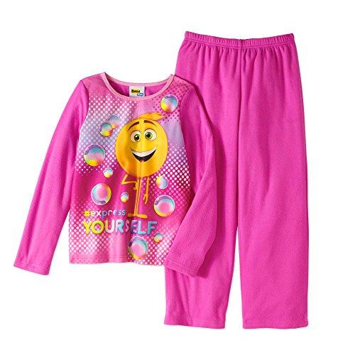 (Girls Character 2 Piece Flannel Sleepwear Set (7/8, Emoji))