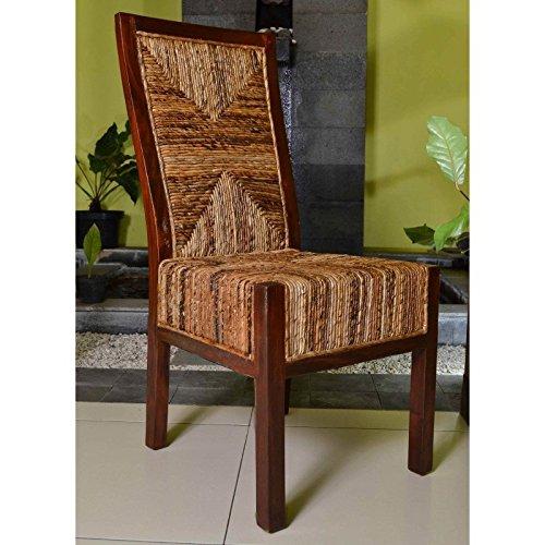 International Caravan 2-Piece Dallas Abaca Weave Dining Chair in Brown Mahogany