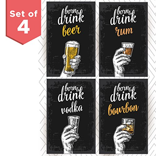 Set of Four College Posters Great Living Room Bar Ideas, Birthday for Him or