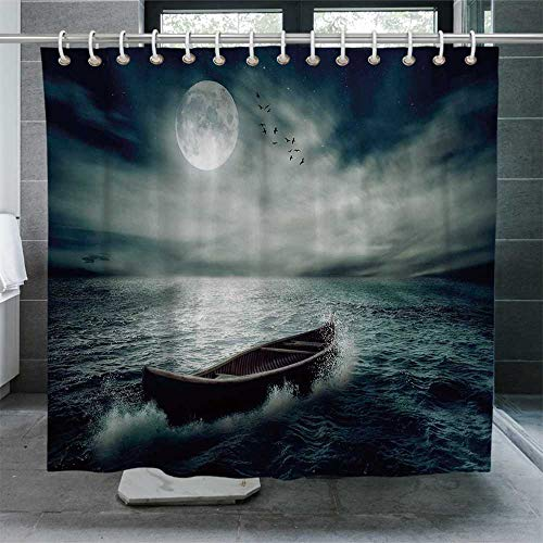 ALUONI Fishing Decor Ultra Soft Shower Curtain,Boat Drifting in Ocean Full Moon Dramatic Night Sky Life Hope Concept Bathroom Curtain with Hooks,72