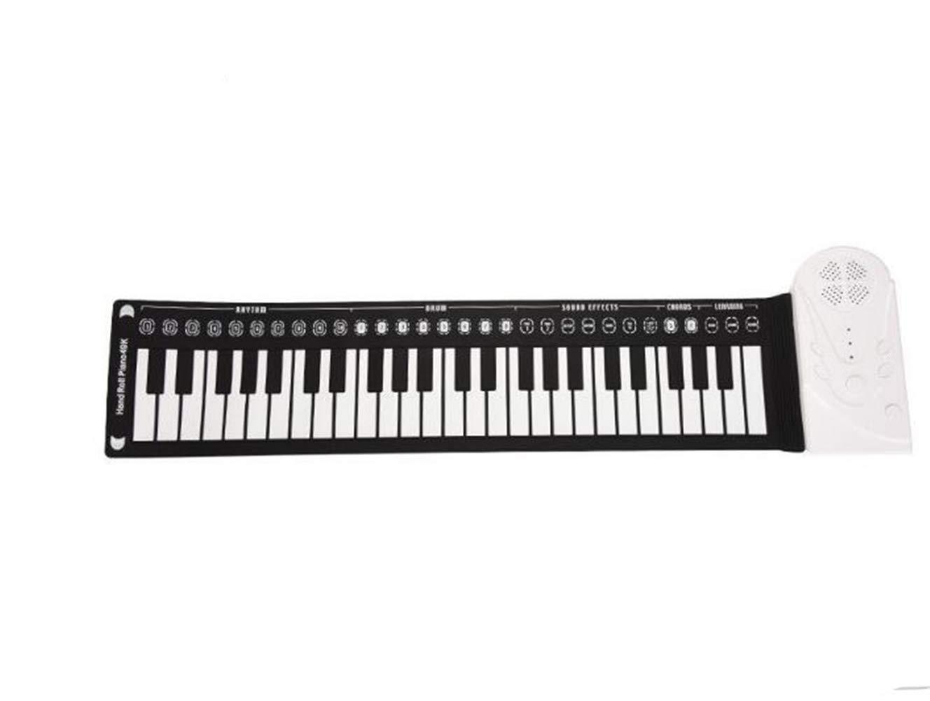 DDPP 49 Tasti con Corno, Mano Roll, Pianoforte, Portatile Pieghevole Organo elettronico può rimboccarsi Pianoforte per Principianti Pratica Pianoforte,bianca