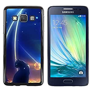 TopCaseStore / la caja del caucho duro de la cubierta de protección de la piel - Abstract Black Cat Night Space Dark - Samsung Galaxy A3 SM-A300