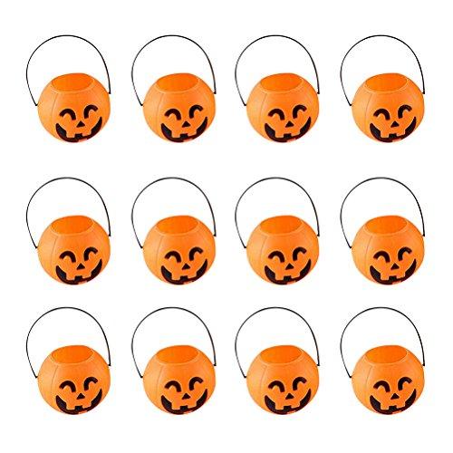 OUNONA 12 Pcs Halloween Candy Pumpkin Bucket- Children Trick or Treat Pumpkin Candy Pail Holder (Smiling Eyes)
