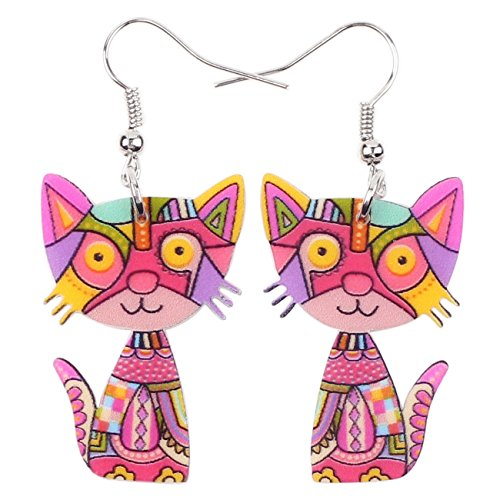Acrylic Drop Cat Earrings Pets Funny Design 7 Color Lovely Gift For Girl Women By The Bonsny (Red) ()