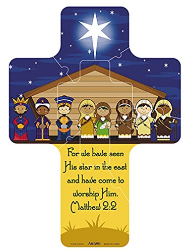 (Religious Gifts Kids Christmas Stable Nativity Magnetic Cross Puzzle, 7 Inch)