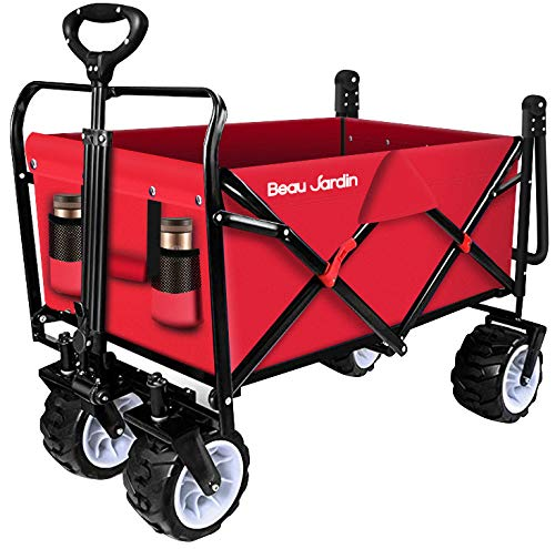 Folding Push Pull Wagon Collapsible Cart 300 Pound Capacity Utility Camping Grocery Canvas Sturdy Portable Buggies Outdoor Garden Sport Picnic Heavy Duty Shopping Beach Wide All Terrain Wheels Red