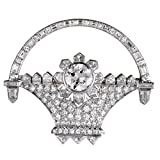 Luxury Bazaar Platinum Full Diamond Flower Basket Brooch