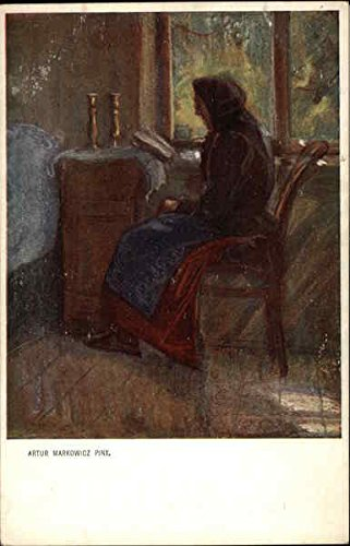 Old Woman Reading by Window Advertising Reproductions Original Vintage Postcard