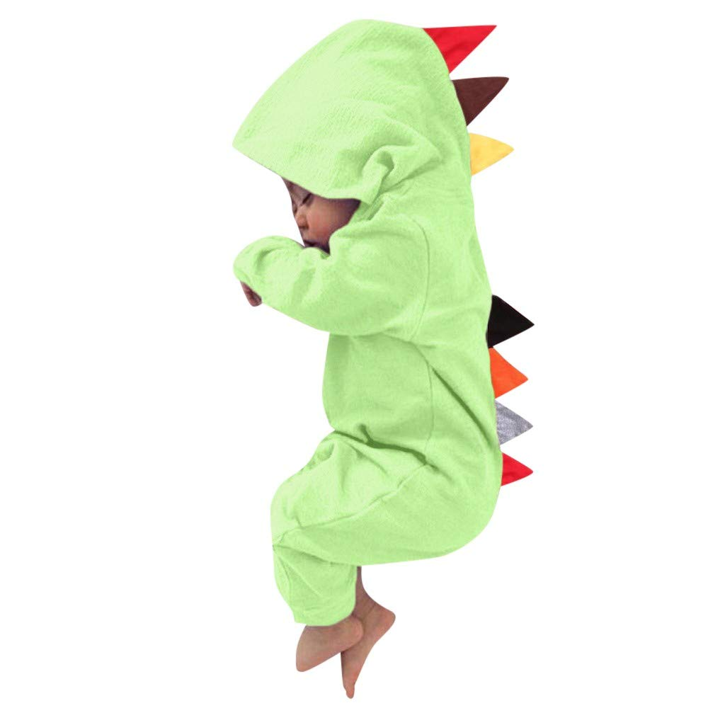LONGDAY Newborn Baby Boys Girls Long Sleeve Dinosaur Zipper Hooded Romper Jumpsuit Outfits