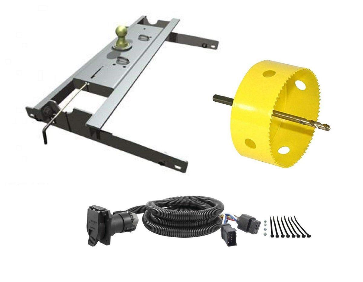 B&W Hitches GNRK1394 Turnoverball Gooseneck Hitch Kit w/ 4'' Hole Saw Drill Bit & 7' Wiring Harness Extension for Dodge Trucks