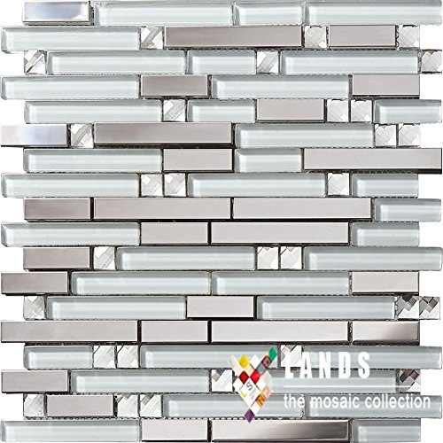 Diamond Mosaic Tile (Diamond glass brick stainless steel blends strip mosaic tiles,Kitchen backsplash/Bathroom wall/Home wall decoration tiles sticker,SA047-18)