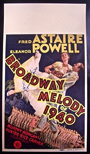 REDUCED 150 BROADWAY MELODY '39 MIDGET WINDOW CARD SIGNED BY FRED ASTAIRE