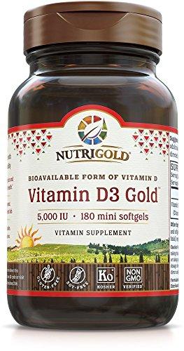 NutriGold Vitamin D3 5000 IU, 180 Mini Softgels (GMO-free, Preservative-free, Soy-free, USP Grade Natural Vitamin D in Organic Olive Oil)