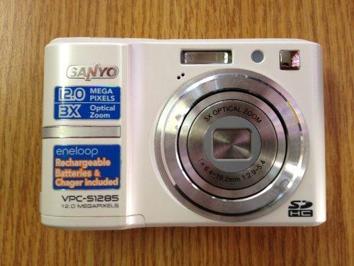 White Sanyo Digital Camera - 12.0 MP, 3x Optical Zoom, Video Recording Capability (Camera Memory Card Sanyo Sd)