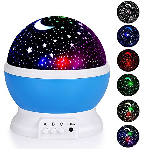 Andersonlight Child Night Lights Baby Sleep Romantic Lamp, Powered By USB Cable/Batteries, 9 Color Options, Bedroom Starry Moon Stars Rotating Projector … (blue)