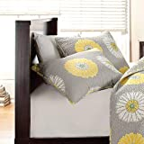 Cozy Line Home Fashions Sunflower King Shams 20''x 36'', Grey/Yellow/White Quilted Pillow Shams, Gifts for Kids Girls (Yellow Sunflower, King Shams (set of 2))