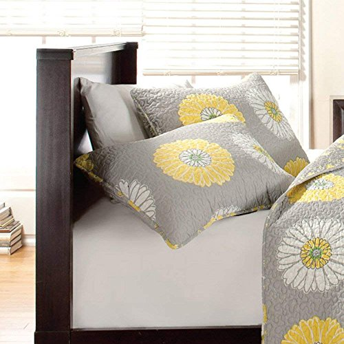 Cozy Line Home Fashions Sunflower King Shams 20''x 36'', Grey/Yellow/White Quilted Pillow Shams, Gifts for Kids Girls (Yellow Sunflower, King Shams (set of 2)) by Cozy Line Home Fashions