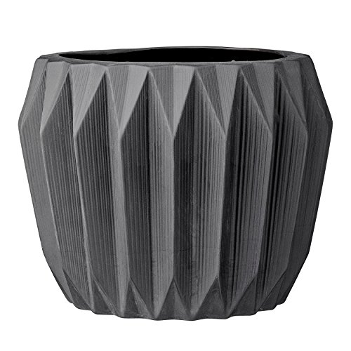 Bloomingville A21900019 Round Grey Fluted Ceramic Flower Pot ()